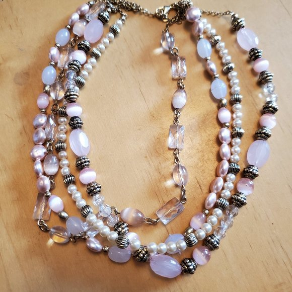 """16"""" Layered Cat's Eye Faux Pearl Strand Necklace"""
